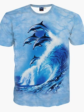 Bright Dolphin Wave Pattern 3D Painted T-Shirt