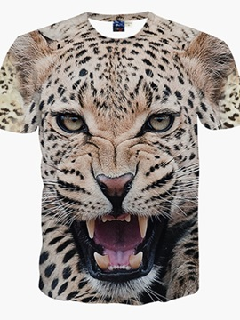 Wild Round Neck Leopard Pattern 3D Painted T-Shirt