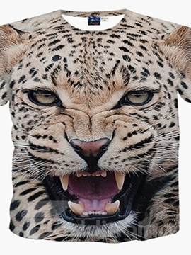 Wild Round Neck Leopard Print 3D Painted T-Shirt