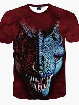 Fashion Round Neck Dinosaur Pattern 3D Painted T-Shirt