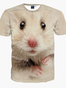 Elegant Round Neck White Mouse Pattern 3D Painted T-Shirt