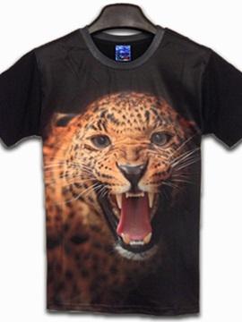Fantastic Round Neck Leopard Pattern 3D Painted T-Shirt