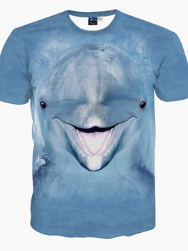Cuddly Round Neck Dolphin Pattern 3D Painted T-Shirt