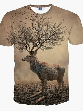 Creative Round Neck Tree Horn Deer Pattern 3D Painted T-Shirt