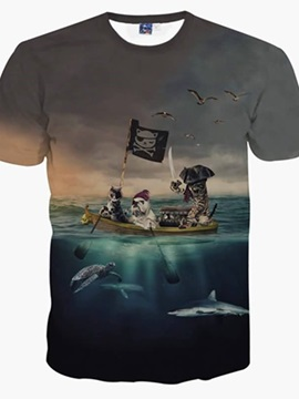 Fabulous Round Neck Pirate Cats Pattern 3D Painted T-Shirt