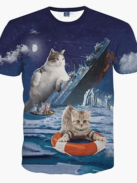 Glamours Round Neck Sinking Ship And Cats Pattern 3D Painted T-Shirt