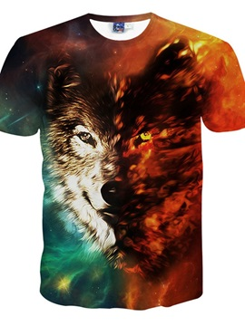 Sparking Round Neck Wolf Face Pattern 3D Painted T-Shirt