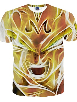 Marvelous Round Neck Digital Lion Pattern 3D Painted T-Shirt