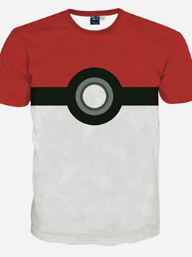 Fashion Round Neck Poke Ball Pattern 3D Painted T-Shirt