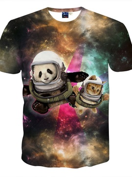 Lovely Round Neck Can And Panda Astronauts Pattern 3D Painted T-Shirt