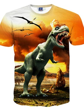 Shining Round Neck Dinosaur Pattern 3D Painted T-Shirt