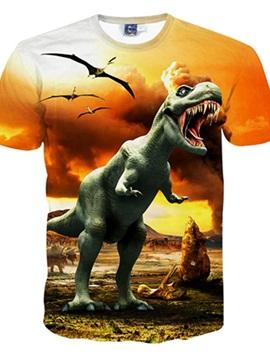 Shining Round Neck Dinosaur Pattern 3D Painted T-Shirt