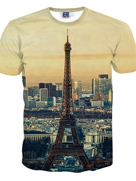 Placid Round Neck Eiffel Tower Pattern 3D Painted T-Shirt