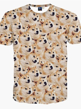 Funny Round Neck Small Dog Face Pattern 3D Painted T-Shirt