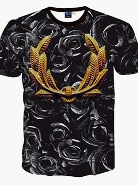 Unique Round Neck Black Rose Pattern 3D Painted T-Shirt