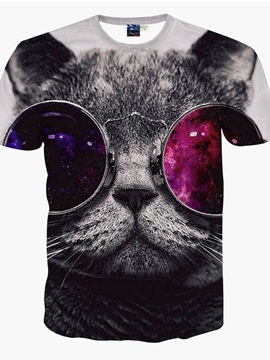 Fashion Round Neck Big Sunglasses Cat Face 3D Painted T-Shirt