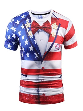 Wonderful Round Neck Flag And Bow Tie Pattern 3D Painted T-Shirt