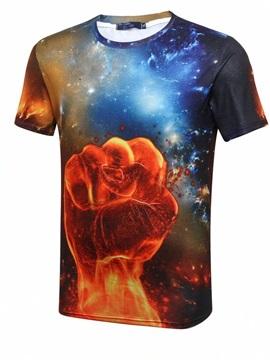 Stunning Round Neck Fist And Nebula Pattern 3D Painted T-Shirt