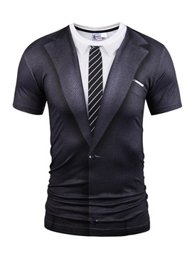 19a1691d 62 Black Suit With Striped Tie Printing Short Sleeve Men's 3D T-Shirt