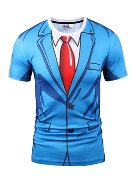 Blue Suit With Red Tie Printing Short Sleeve Men's 3D T-Shirt