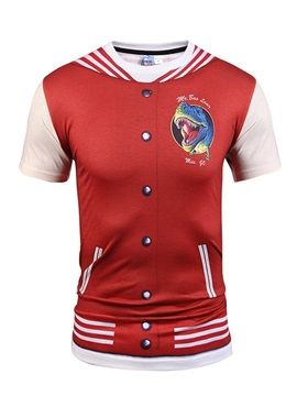 Red Dinosaur with Buttons Printing Polyester Sports Men's 3D T-Shirts