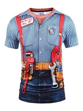 Blue Stripe with Denim Shorts Unisex Casual 3D Pattern T-Shirt