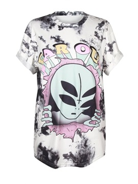 Alien Printed Gradient Colored White 3D T-Shirts