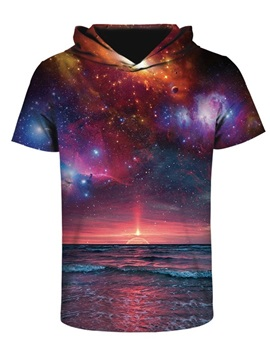 Sunset in the Deep Sea Comfortable Round Neck 3D Short Sleeve for Men Hooded T-shirt