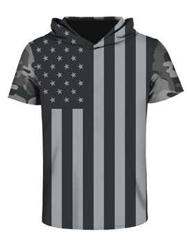 US Flag Black White Pattern Comfortable Spandex 3D Short Sleeve for Men Hooded T-shirt