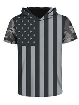 US Flag Black White Pattern Comfortable Spandex 3D Short Sleeve for Men Hooded T-shirt