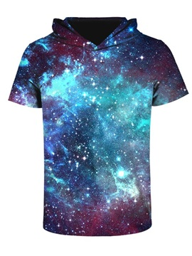 Blue Green Galaxy Comfortable Round Neck 3D Short Sleeve for Men Hooded T-shirt