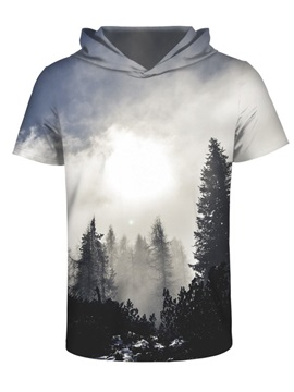 Forest Morning Sunlight 3D Printed Short Sleeve for Men Hooded T-shirt