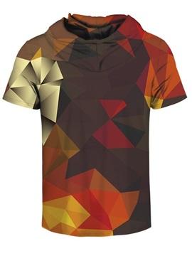 Geometric Rhombus 3D Printed Short Sleeve Coloful for Men Hooded T-shirt