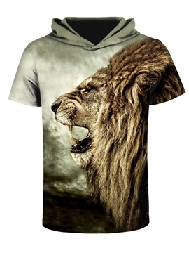 Lion Roar 3D Printed Short Sleeve Side face for Men Hooded T-shirt