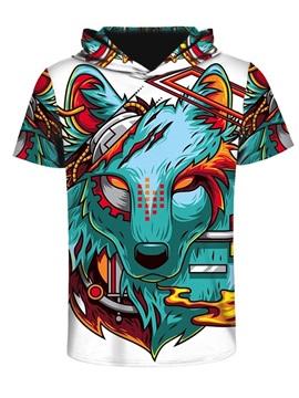 Violence Wolf 3D Printed Short Sleeve Fashion Hip hop for Men Hooded T-shirt