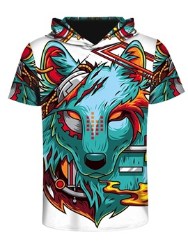 Violence Wolf 3D Printed Short Sleeve Fashion Hip hop for Men Hooded T-shirt