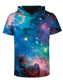 Galaxy Fashion Design Pattern 3D Printed Short Sleeve for Men Hooded T-shirt