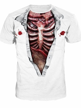 Blood Skeleton Pesonality Couple Round Neck 3D Painted T-Shirt