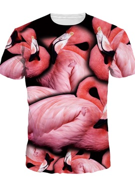 Flamingo Short Sleeve Round Neck 3D Painted T-Shirt