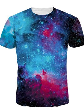 Galaxy Pattern Short Sleeve Round Neck 3D Painted T-Shirt