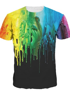 Colorful Liquid Falling Short Sleeve Round Neck 3D Painted T-Shirt