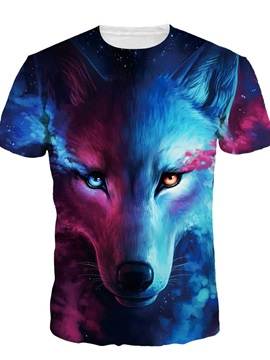 Blue Wolf with Tear Short Sleeve Round Neck 3D Painted T-Shirt