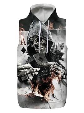 3D Skull with Fire Poker Sleeveless Pullover Hooded Men Fashion T-shirt