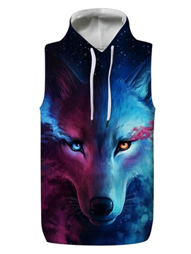 3D Wolf with Tear Sleeveless Pullover Hooded Men Fashion T-shirt