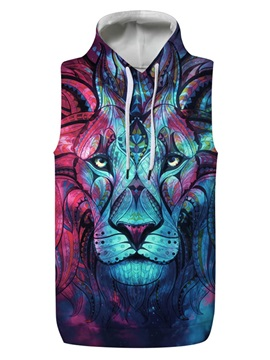 3D Lion Blue Light Sleeveless Pullover Hooded Men Fashion T-shirt