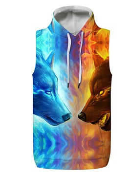 3D Two Wolf Fight Pullover Hooded Men Fashion T-shirt