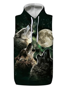 3D Wolf Roar with Moon Sleeveless Pullover Hooded Men Fashion T-shirt