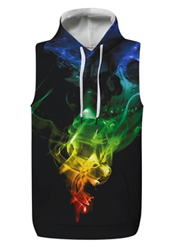 3D Color Light Sleeveless Pullover Hooded Men Fashion T-shirt