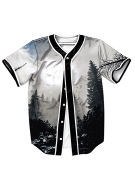 Monochrome Forests 3D Printed For Man Short Sleeve Shirt