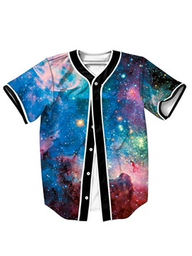 Mixed Color Starry Sky Pattern For Man Short Sleeve Shirt
